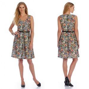 Leslie Fay Striped Floral Fit N' Flare Dress